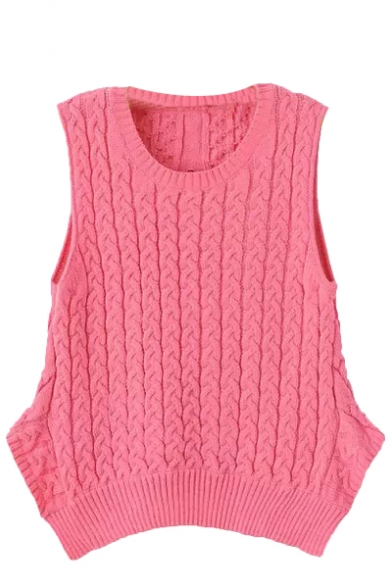 Plain Cable Knit Sleeveless Sweater With Round Neckline And Cutout