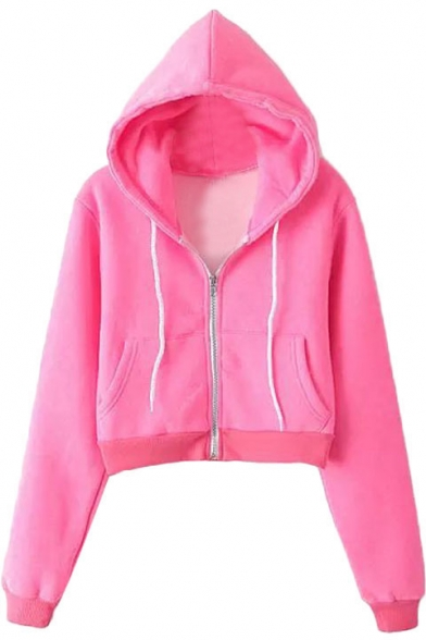 Plain Hooded Zip Fly Long Sleeve Crop Coat with Drawstring