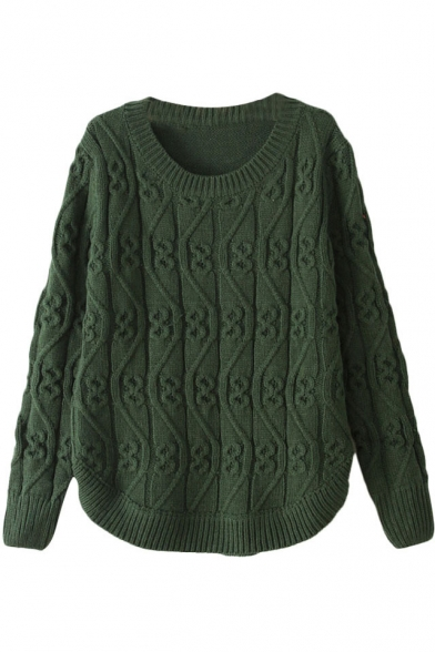 Plain Wave Knitted Pattern Long Sleeve Sweater with Round Neckline and Arc Hem