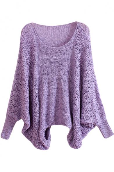 Pointelle Round Neck Bat Sleeve Loose Sweater