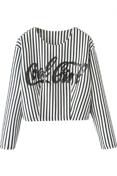 Stripe Letter Print Round Neck Long Sleeve Cropped T-Shirt