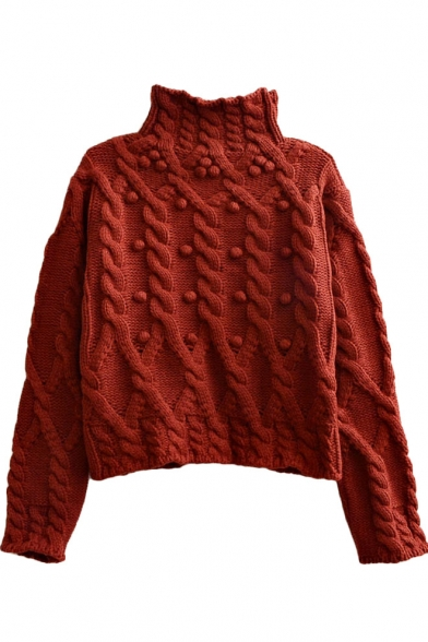 Thread Ball and Twist Cable Knit Pattern High Collar Plain Long Sleeve Sweater