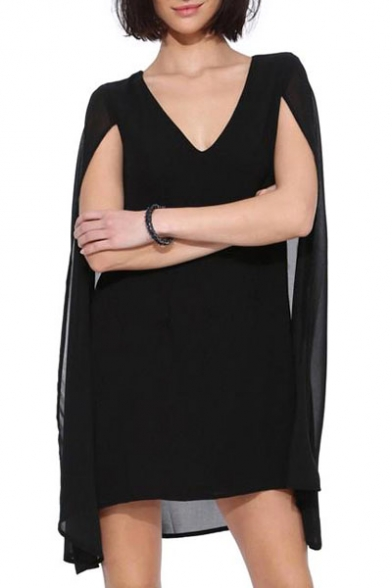 c0ee479503 Black Fitted Plain Cape Style V-Neck Chiffon Dress - Beautifulhalo.com
