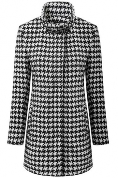 Midi Houndstooth Pattern High Collar Fitted Wool Coat ...