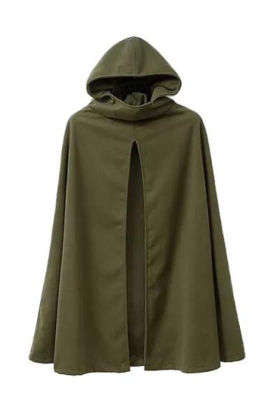 Split Woolen Green Amy Plain Hooded Cape Front qC41awx6