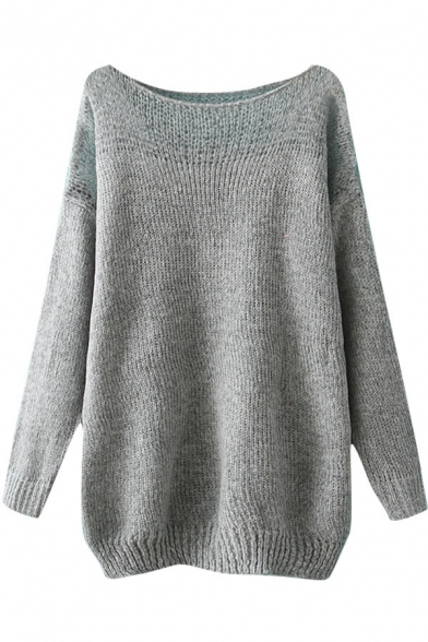 Plain Batwing Sleeve Mohair Sweater with Illusion