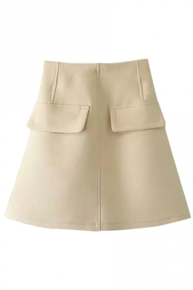 Plain Pockets Detail High Rise Zipper Fly A-Line Skirt ...
