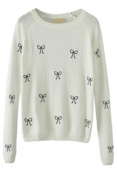 Tiny Bow Tie Pattern Long Sleeve Knitted Sweater with Round Neckline