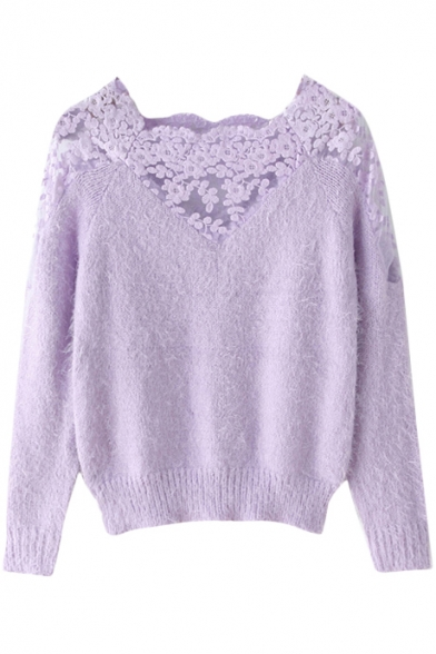 4ded51e35c Vintage Plain Lace Insert Shoulder Long Sleeve Mohair Sweater with Scoop  Neck ...