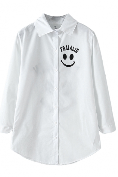 White Smile Face Letter Print Lapel Single Breast Blouse
