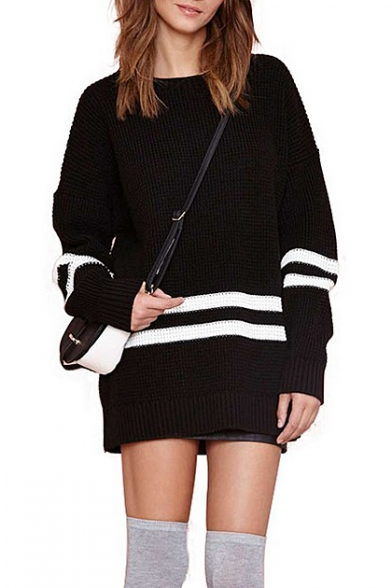 White Stripe Black Background Long Sleeve Midi Sweater ...