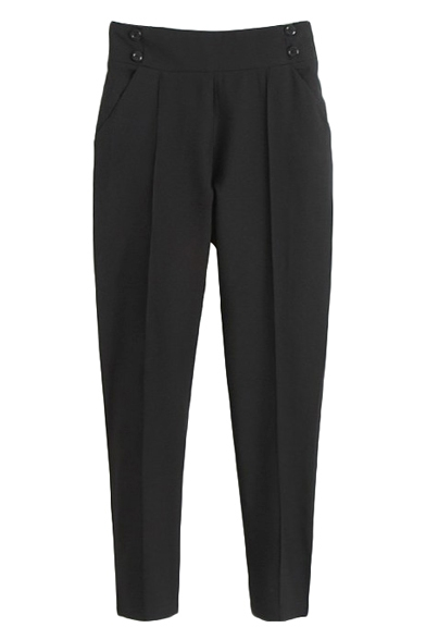 Black Plain Gathered Waist Pockets Pencil Pants