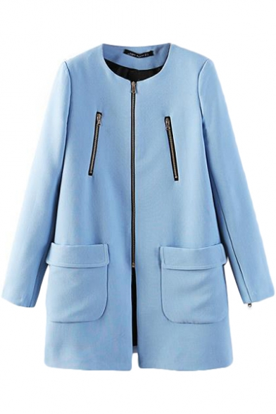 Blue Relaxed Zippered Round Neck Pockets Coat