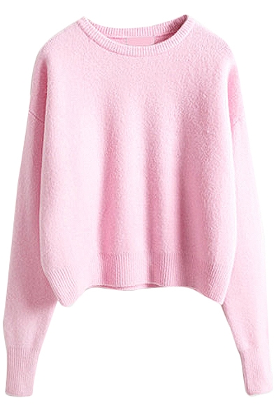 Candy Color Style Cute Plain Sweater with Round Neck ...