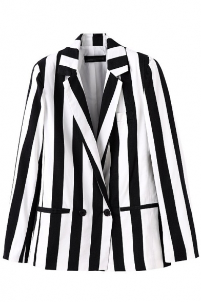 White&Black Stripe Print Lapel Collar Double-Breast Pockets Long Sleeve Blazer