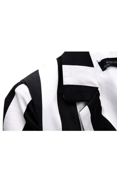 White&Black Stripe Print Lapel Collar Double-Breast Pockets Long Sleeve Blazer