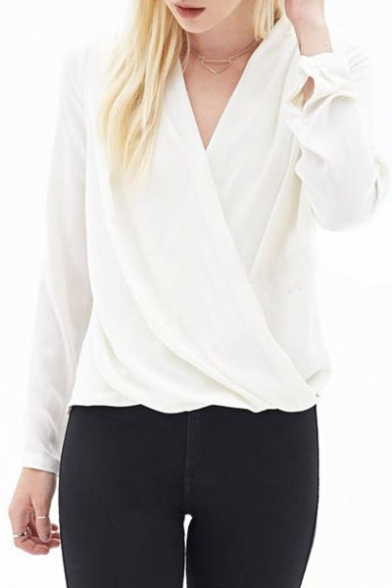 White Wrap Front V Neck Pleated Long Sleeve Chiffon Blouse