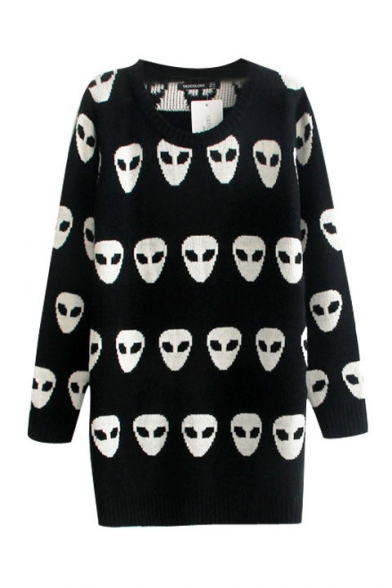 Alien Pattern Long Sleeve Longline Sweater with Round Neckline
