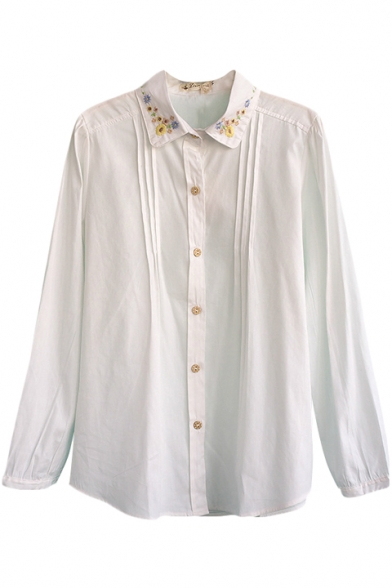 Embroidered floral pattern point collar long sleeve tunic