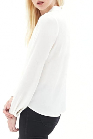 ac611ad4d49 ... White Wrap Front V-Neck Pleated Long Sleeve Chiffon Blouse ...