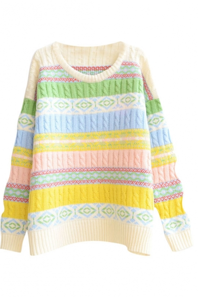 Geometric Horizontal Color Block Round Neck Long Sleeve Sweater