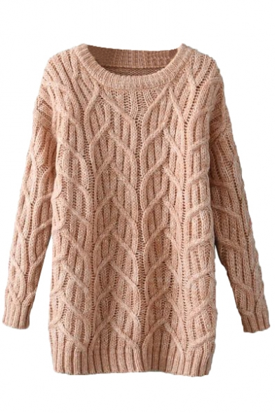Light Pink Long Sleeve Staggered Cable Knit Sweater with Round ...