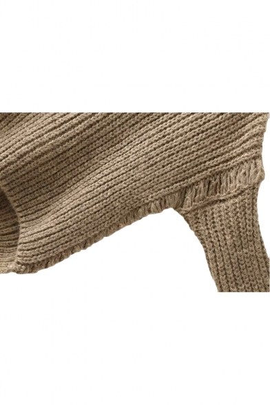 Plain Chunky Knit High Neck Long Sleeve Sweater
