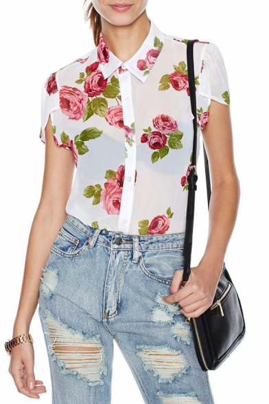 White Background Red Rose Print Short Sleeve Button Front Chiffon Blouse