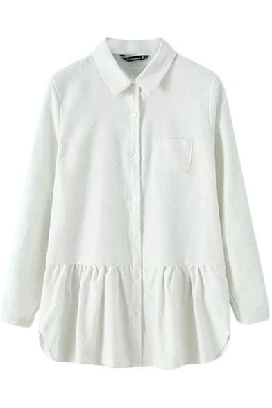 60655ea25 White Plain Cotton Lapel Single Breast Ruffle Hem Long Sleeve Blouse -  Beautifulhalo.com