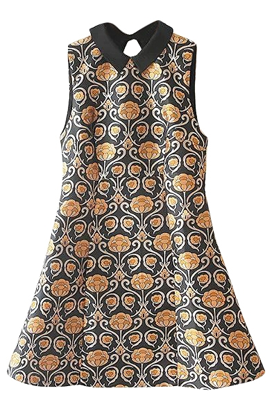 Black Background Yellow Floral Print Lapel Sleeveless Fit and Fare Dress