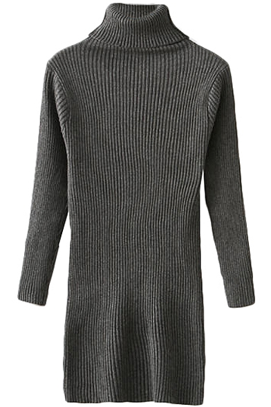 Plain Fitted High Neck Long Sleeve Tunic Sweater - Beautifulhalo.com