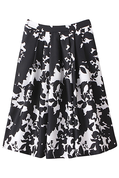Black Fitted White Floral Print High Rise Midi Skirt ...