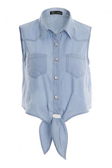 Blue Plain Lapel Sleeveless Button Front Bow Waist Denim Cropped Blouse