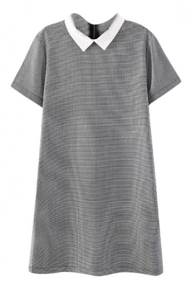 Gray Houndstooth Print Lapel Collar Short Sleeve Dress