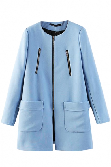 Blue Plain Round Neck Pockets Zippered Coat
