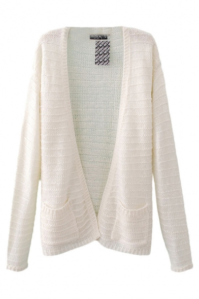 Plain Long Sleeve Cardigan with Double Pockets Front
