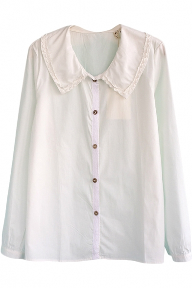 0b3c265b74ac Plain Peter Pan Collar Long Sleeve Shirt with Crochet Trim ...