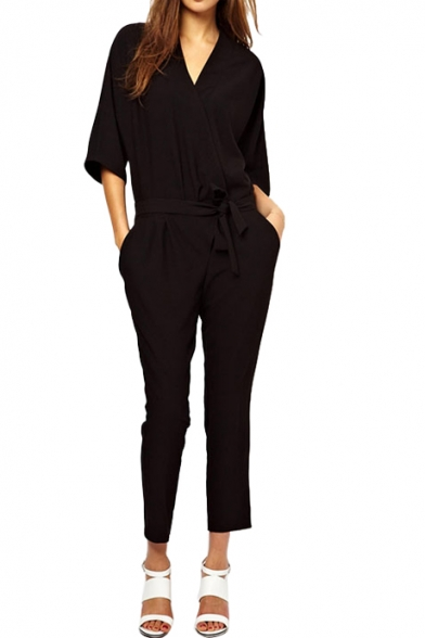 3/4 Sleeve V-neck Belt Embellished Black Jumpsuits