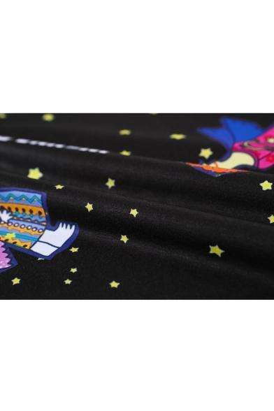T Cartoon Print Angel amp;Space Shirt Black azRP8