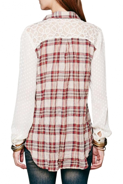 Dot&Circle Pattern Lace Plaid Print Shirt