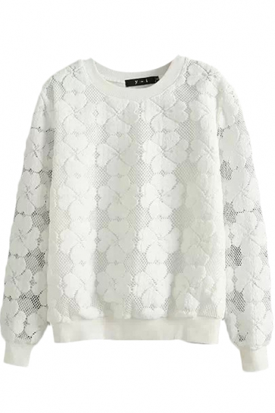 3D Embroidered Flower Lace Style Sweatshirt
