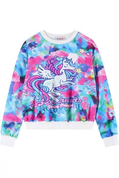 Flying Cartoon Horse Print Cropped Sweatshirt