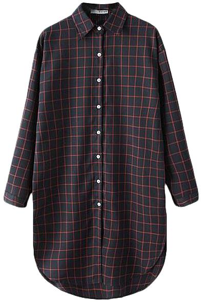 Round Hem Plaid Pattern Midi Shirt