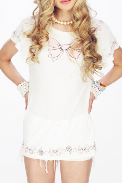 96956276 Pink Bow Tie Print Short Sleeve T-shirt - Beautifulhalo.com