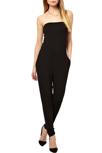 Concise Black Strapless Jumpsuit with Harem Pants