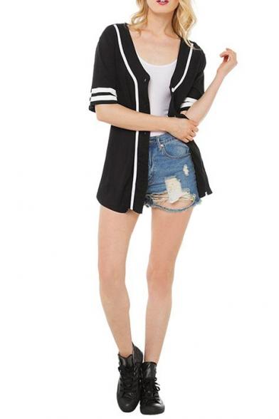 Boyfriend Baseball Style Button Fly Short Sleeve Letter&Stripe&No.Print Shirt