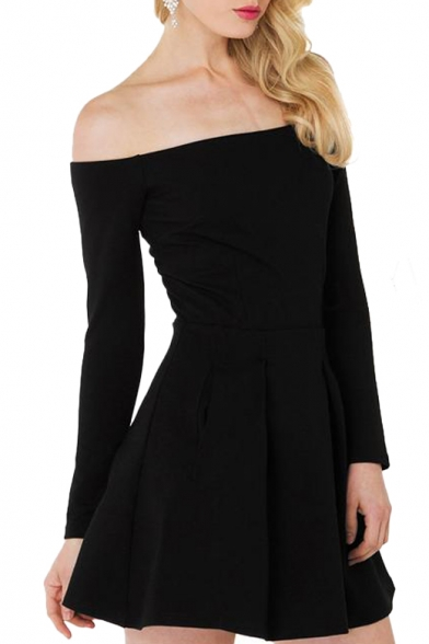 26a8d2531e46 Off-the-Shoulder Black Long Sleeve Ruched A-line Dress - Beautifulhalo.com