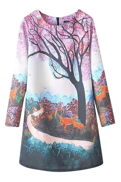 Sakura Tree Rural Landscape Print Round Neck Swing Dress
