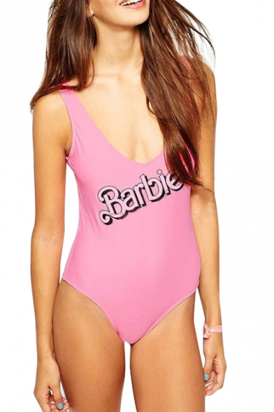 Fashionable Barbie Print Tanks Style Backless Bodysuit