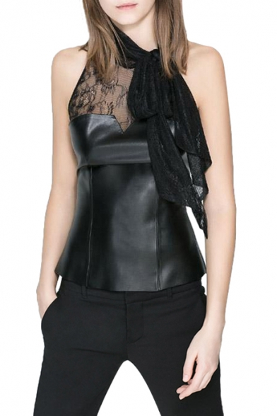 Sheer Lace Panel Neck Bow Tie Collar Sleeveless Pu Top